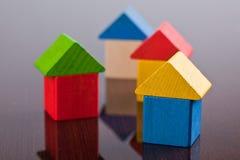 игрушка дома блока деревянная Стоковое фото RF