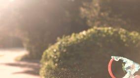 Игрушка, дуя пузыри в парке сток-видео
