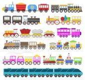 Игрушка железной дороги младенца шаржа поезда детей или игра железной дороги с локомотивное небездарным на с днем рождениях к реб Стоковые Фото