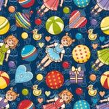 игрушка картины малыша безшовная Конструируйте элемент для открытки, знамени, рогульки Стоковое Изображение RF
