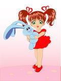 игрушка кролика девушки маленькая Иллюстрация штока
