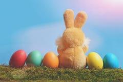 Игрушка кролика, покрашенные пасхальные яйца на зеленом мхе, голубом небе Стоковые Изображения