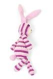 Игрушка кролика идет, фото крупного плана изолированное на белизне Стоковое фото RF