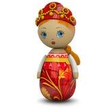 Игрушка куклы русской девушки деревянная иллюстрация штока