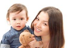 игрушка мамы девушки медведя младенца сь Стоковое фото RF