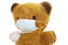 игрушка маски гриппа медведя мягкая Стоковая Фотография