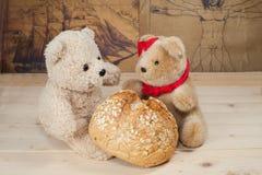Игрушка медведя с хлебом Стоковое фото RF