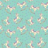 Игрушка младенца тряся лошади картины безшовная и розовый круг на зеленой предпосылке иллюстрация штока
