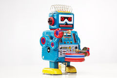 игрушка олова робота барабанщика Стоковое Изображение