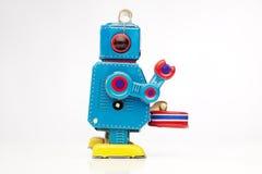 игрушка олова робота барабанщика Стоковая Фотография