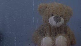 Игрушка плюшевого мишки сидя за дождливым окном в детском доме, воде падает капание акции видеоматериалы