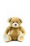 Игрушка плюшевого медвежонка Брайна сидя на белизне Стоковое фото RF