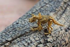 Игрушка ребенка Скелет динозавра в старом дереве Стоковые Фотографии RF