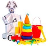 Игрушка робота на колесах и игрушках детей пластичных Стоковое Изображение