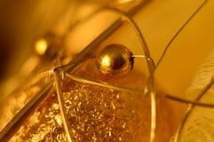 игрушка рождества золотистая абстракция Макрос Стоковые Изображения