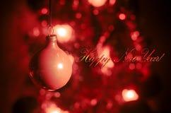 Игрушка рождества на рождественской елке Новый Год орнаментирует предпосылку зимы для космоса открытки пустого Предпосылка кануна Стоковая Фотография RF