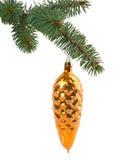 Игрушка рождества в форме конуса на ветви Стоковая Фотография RF