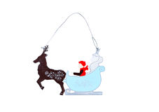 Игрушка рождества деревянная Игрушка рождества деревянная Изолировано на белизне Стоковые Фотографии RF