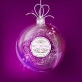 Игрушка рождества Стеклянный шар с цветочным узором в круге Оформление года сбора винограда вектора Стоковая Фотография