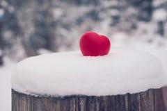 Игрушка сердца на снеге Концепция карточки дня валентинок Стоковые Фотографии RF