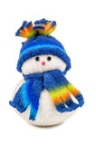 Игрушка снеговика на белизне Стоковое фото RF