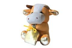 Игрушка сумки коровы мягкая изолированная на белизне Стоковое Фото