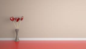 Игрушка формы сердца с вазой в комнате Стоковые Фото