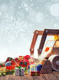 Игрушка экскаватора с подарками на рождество Стоковые Изображения