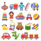 Игрушки детей Барабанчика плюшевого мишки игрушки игры детей ракеты динозавра утенка вершин колышк робот кубов желтых Вектор игру иллюстрация штока