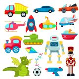 Игрушки детей vector вертолет игр шаржа или грузят подводную лодку для детей и играть с иллюстрацией автомобиля или поезда Стоковое Изображение RF
