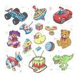 Игрушки детей vector игры шаржа для детей в игровой и играть с автомобилем или красочного комплекта иллюстрации блоков  Стоковые Изображения