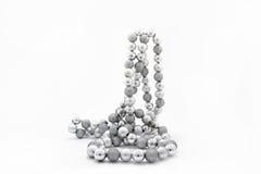 Игрушки ели рождества серебряные Стоковая Фотография RF
