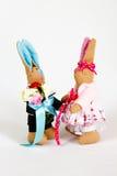 Игрушки зайцев мягкие каркасные handmade Стоковые Изображения