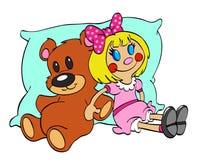 Игрушки куклы плюшевого медвежонка и ветоши Бесплатная Иллюстрация