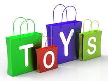Игрушки кладут покупки и приобретение в мешки выставок розничные иллюстрация штока