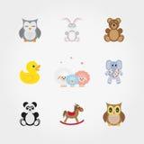 Игрушки младенца животные милые немногая иллюстрация вектора