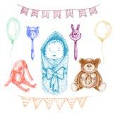 Игрушки младенца newborn в стиле нарисованном рукой Illustrat вектора Стоковые Фото