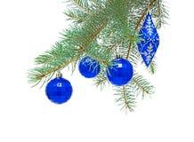 Игрушки Новый Год на ветви спруса Стоковое Фото