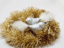 Игрушки праздника Нового Года рождества над белой предпосылкой Стоковые Фото