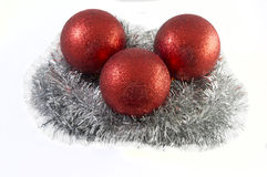 Игрушки праздника рождества над белой предпосылкой Стоковые Изображения RF