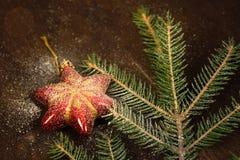 Игрушки рождественской елки тонизировали оформление торжества макроса Стоковая Фотография RF