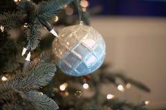игрушки сфер рождества предпосылки изолированные стеклом белые Стоковая Фотография