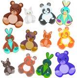игрушки цвета мягкие иллюстрация вектора