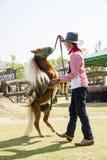 Игры ковбоя с его пони Стоковое Изображение