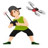 Игры мальчика с трутнем контролируемым радио Стоковое Изображение RF