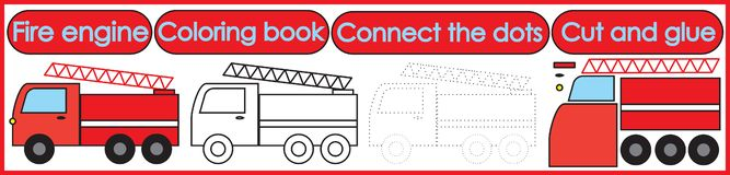 Игры на дети 3 в 1 Книжка-раскраска, соединяет точки, отрезок стоковые изображения rf