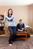 игры пар играя видео Стоковые Фотографии RF
