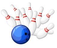 Игры плаката в клубе боулинга Дизайн предпосылки вектора с забастовкой на skittles шарика переулка Плоская иллюстрация Страница в иллюстрация вектора