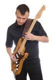 игры человека электрической гитары стоковое изображение rf