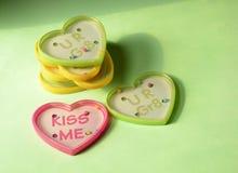 Игры шарика игрушки формы сердца пластичные с текстом Стоковое Изображение RF